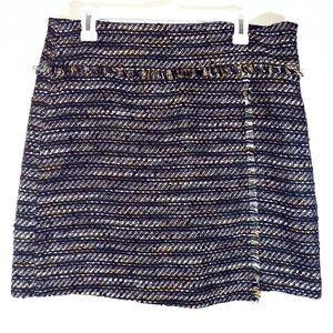 Loft fringed mini skirt back green gold